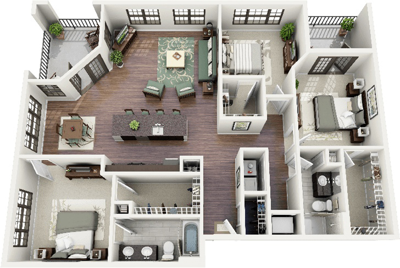 three-bedroom-apartment-layout